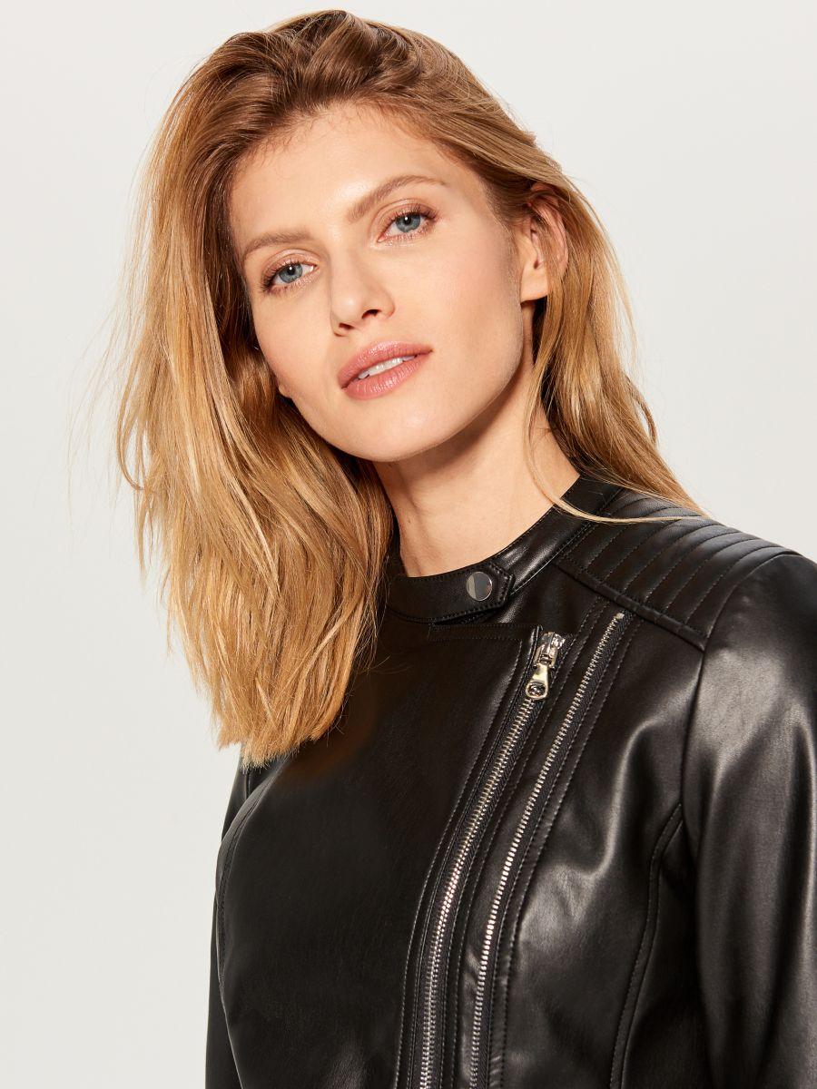 Eco-leather rocker jacket - black - VA418-99X - Mohito - 2