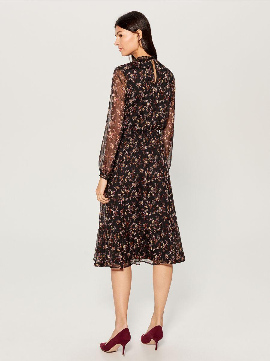 Chiffon floral dress - black - VB436-99P - Mohito - 4