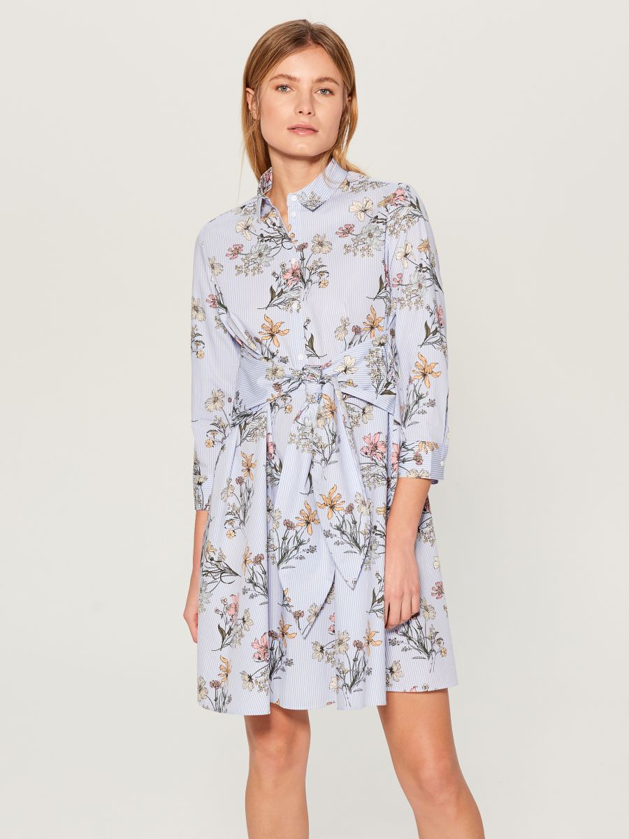Shirt dress with tie - blue - VD247-05P - Mohito - 2