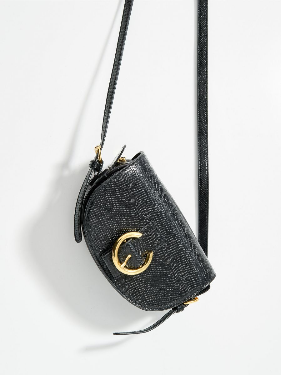 Faux leather mini bag with embossed snake print - black - VD484-99X - Mohito - 1