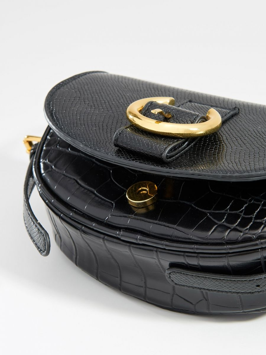 Faux leather mini bag with embossed snake print - black - VD484-99X - Mohito - 3