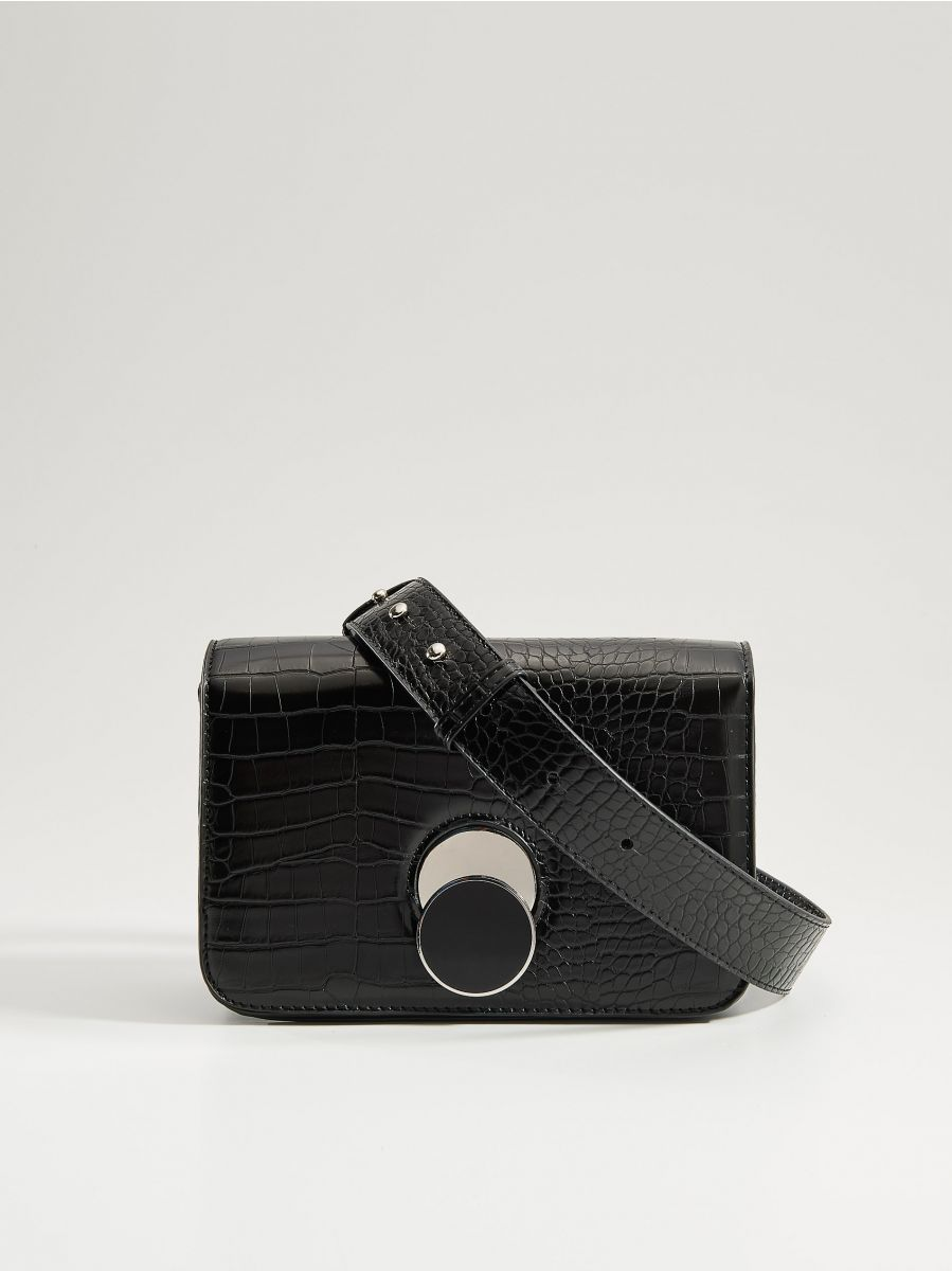 Cross body bag with round clasp - black - VE353-99X - Mohito - 2