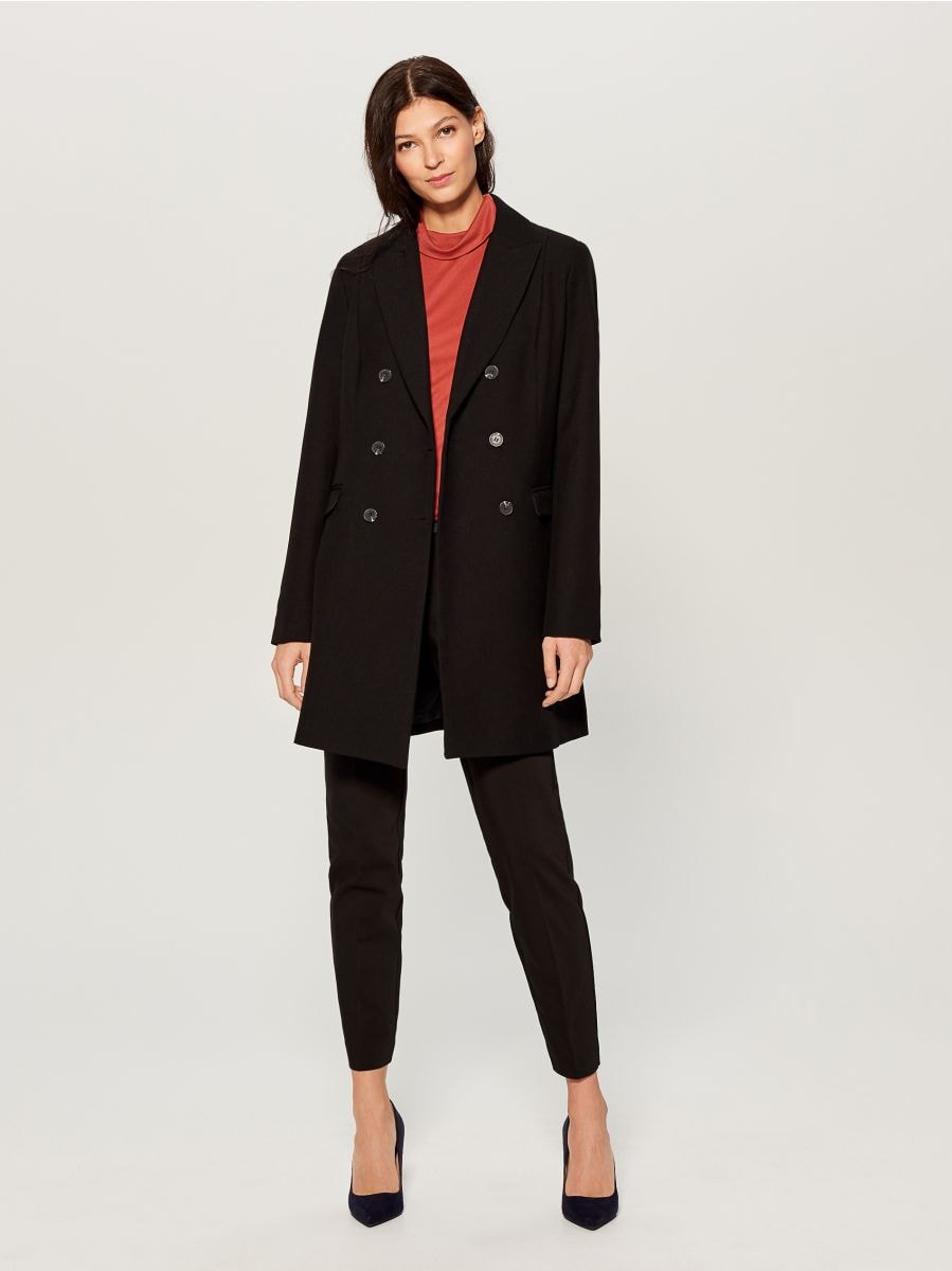 Double-breasted coat - black - VG216-99X - Mohito - 1