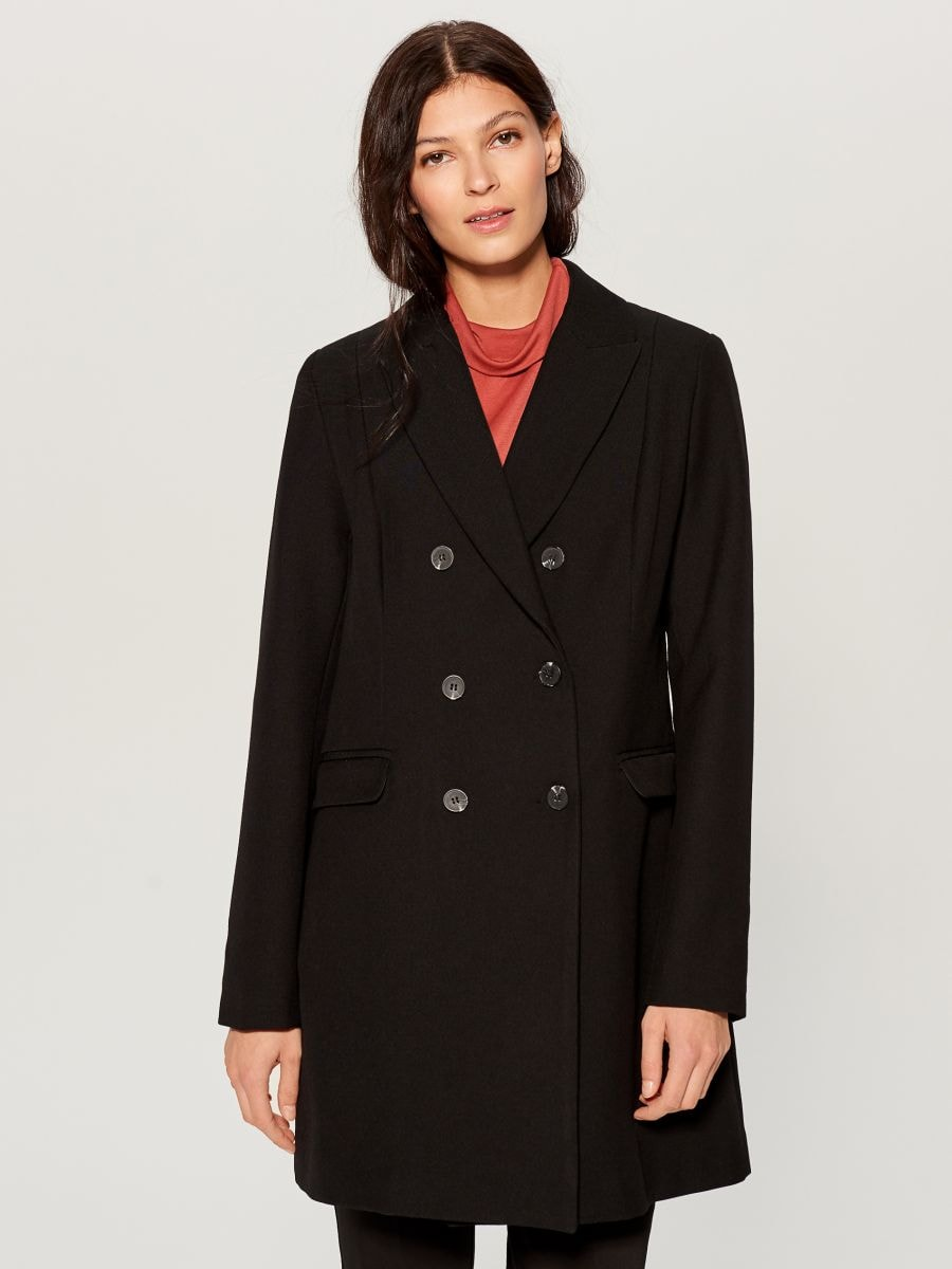 Double-breasted coat - black - VG216-99X - Mohito - 2