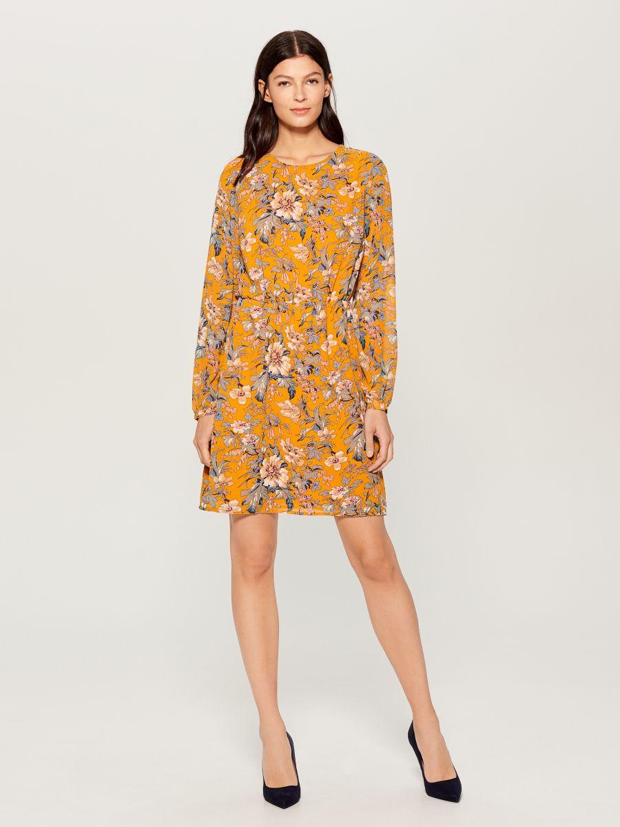Patterned long sleeve dress - yellow - VJ592-17P - Mohito - 1