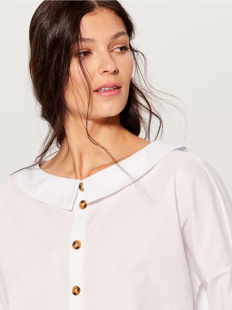 Oversized wide collar shirt - white - VL785-00X - Mohito - 1