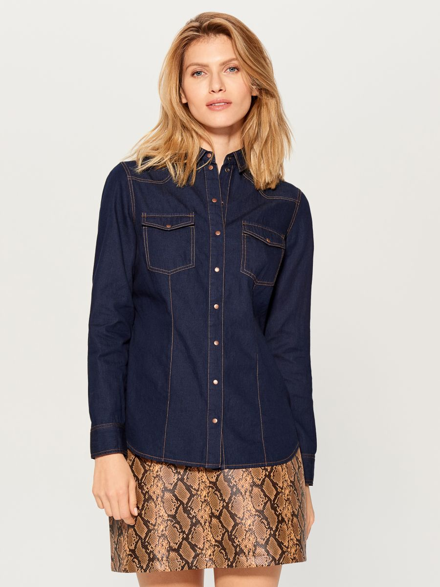 Denim shirt - blue - VM575-95X - Mohito - 3