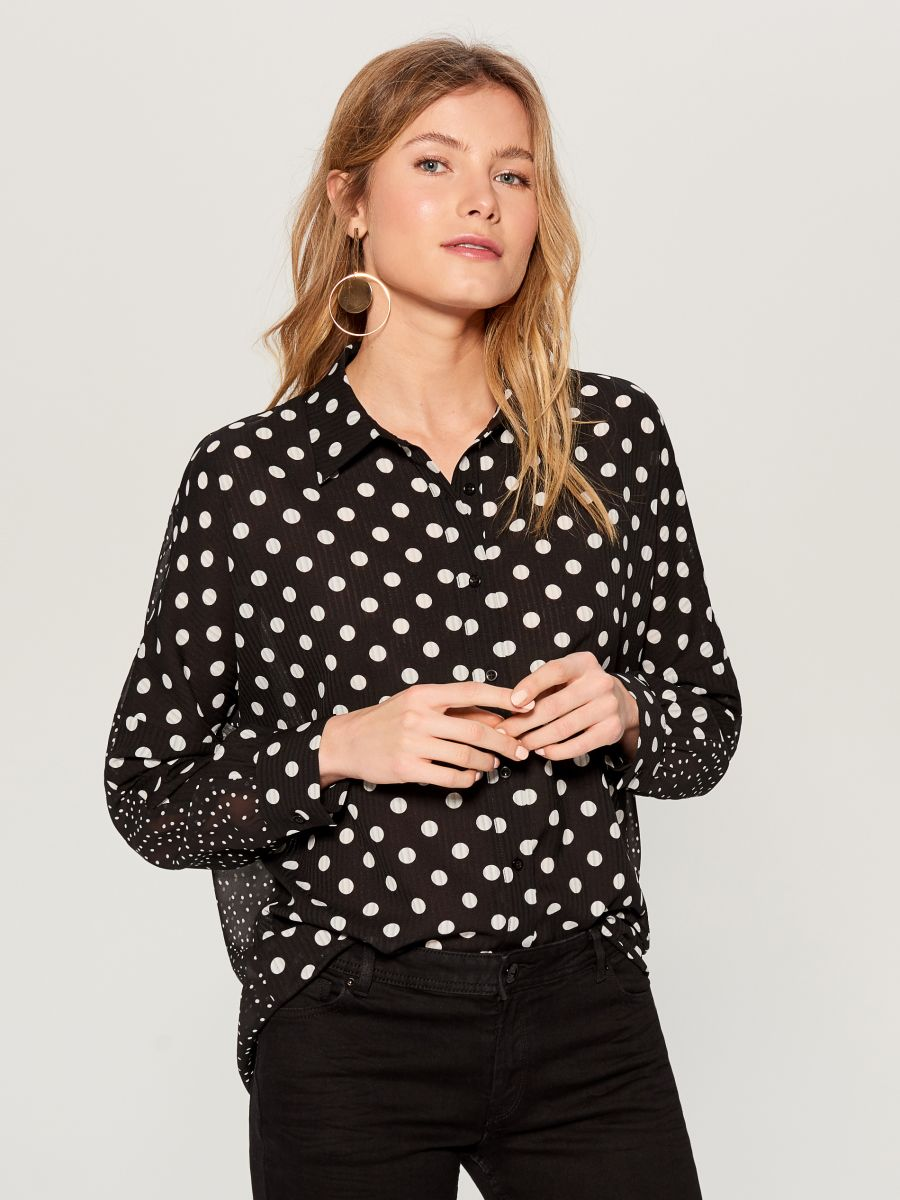 Polka dotted blouse - black - VN125-99P - Mohito - 1