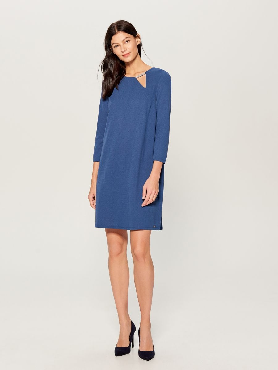 Dress with jewellery detail - blue - VO005-50X - Mohito - 1