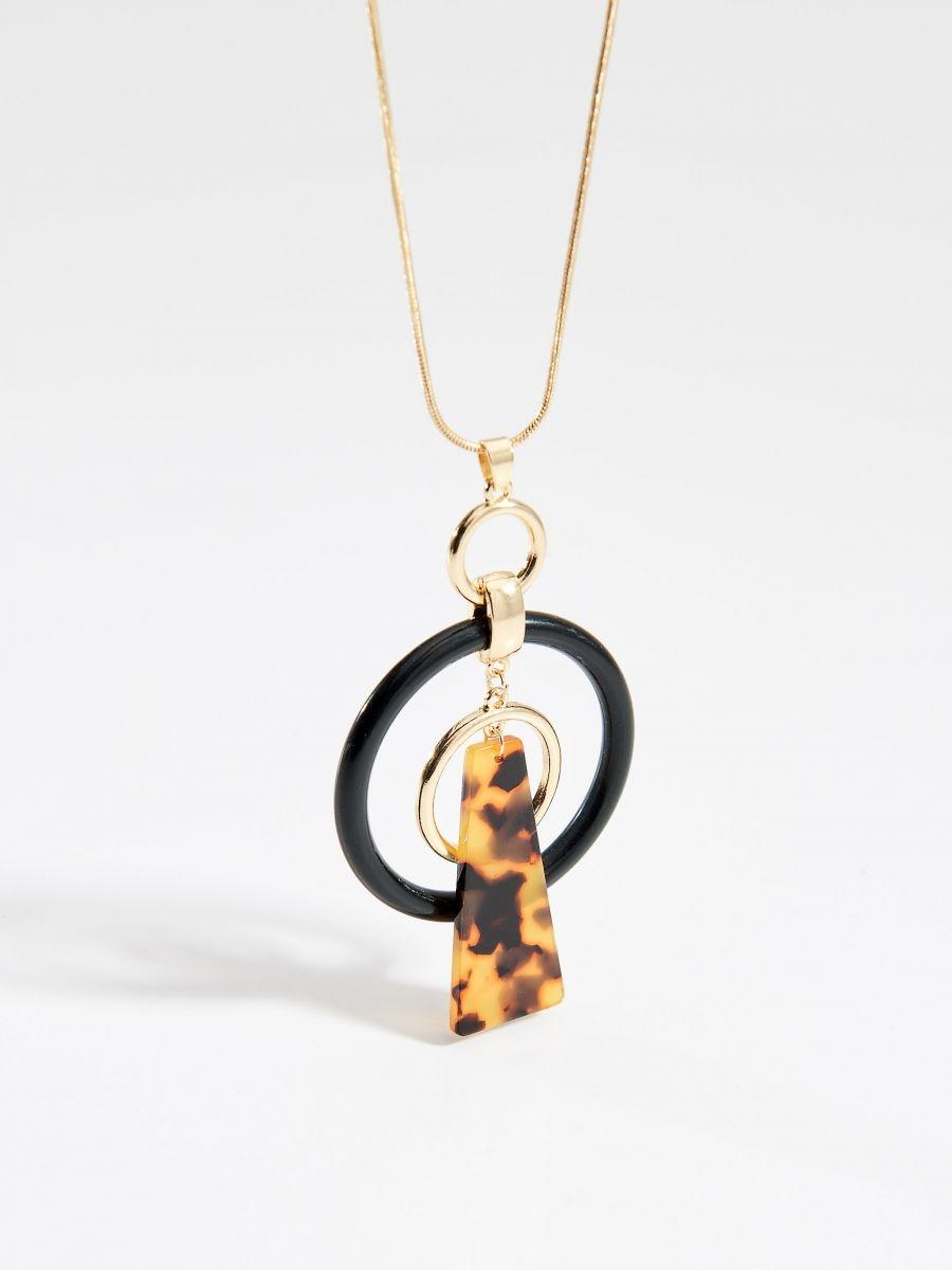 Drop necklace with round pendant - multicolor - VQ949-MLC - Mohito - 1