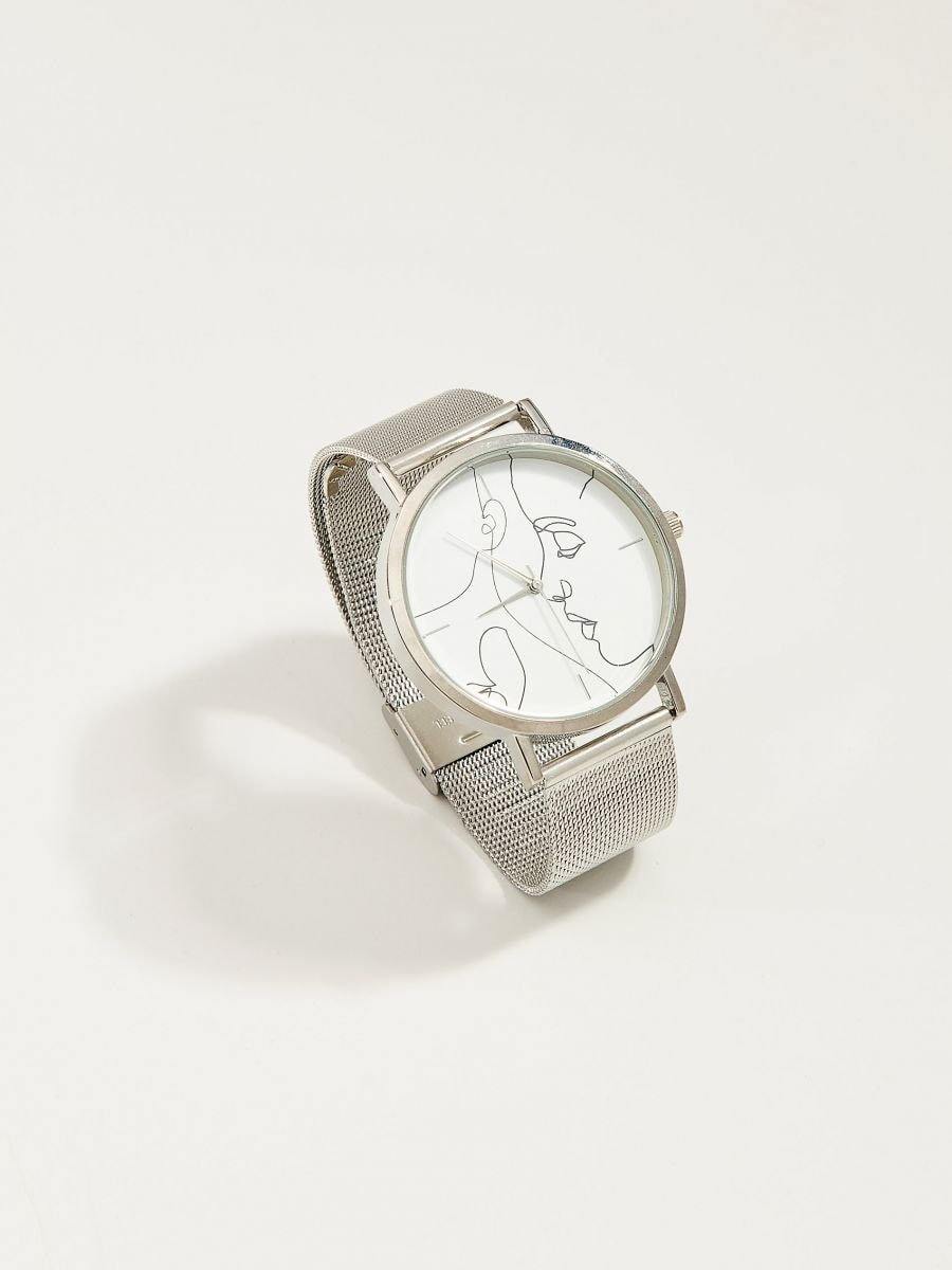 Watch with decorative face - silver - VR133-SLV - Mohito - 1