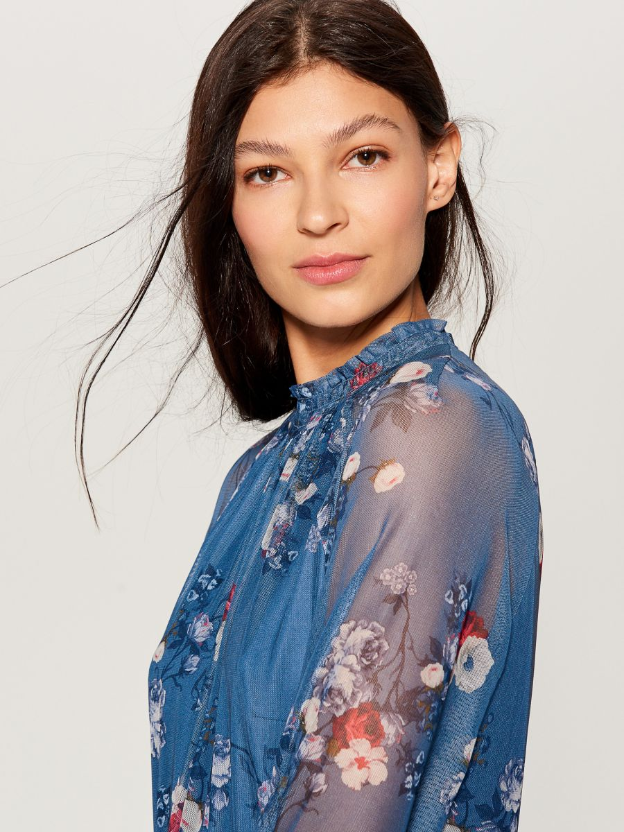 Chiffon floral dress - blue - VS324-50P - Mohito - 2