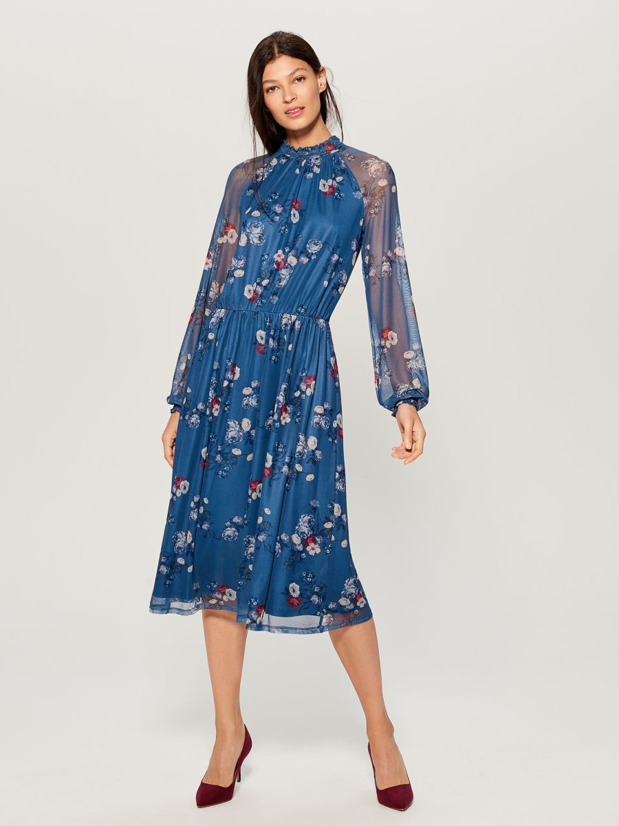Chiffon floral dress - blue - VS324-50P - Mohito - 3