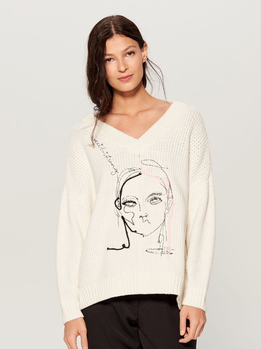 Oversized jumper with embroidery  - ivory - VS399-01X - Mohito - 3