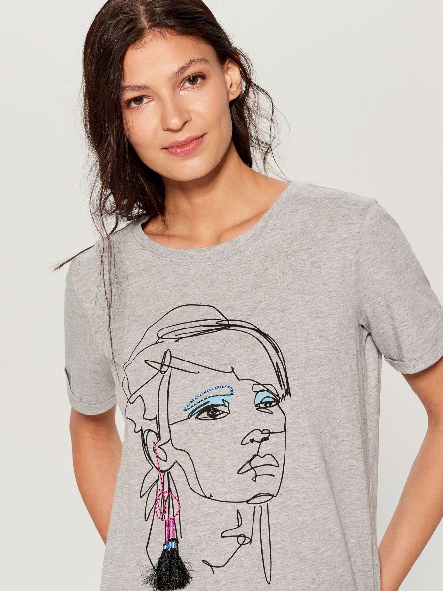 Cotton T-shirt - light grey - VS422-09X - Mohito - 1