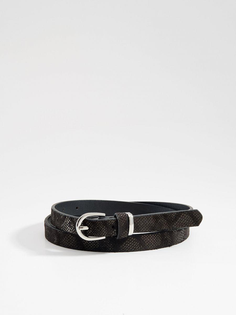 Faux leather belt with snake print - black - VS527-99X - Mohito - 2