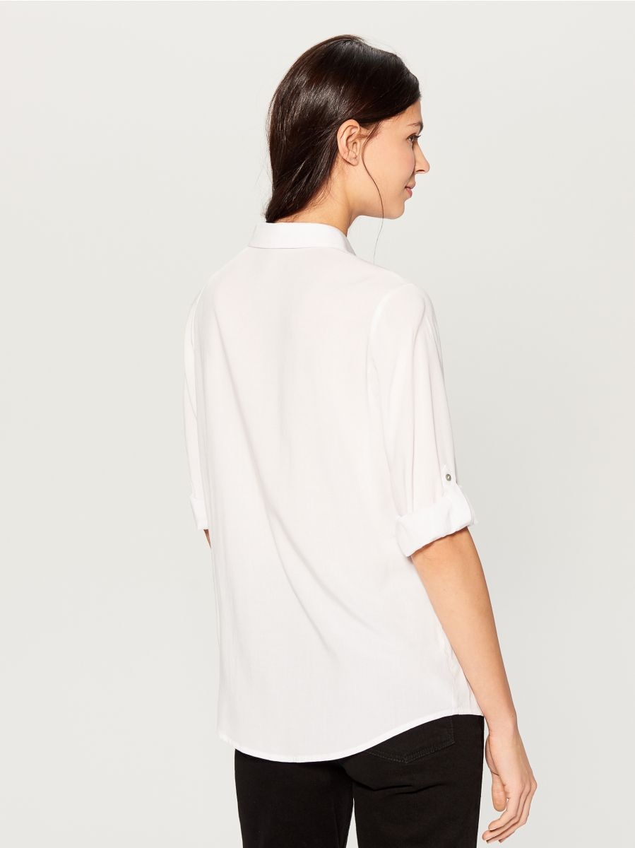 Roll-up sleeve shirt - white - VS979-00X - Mohito - 4