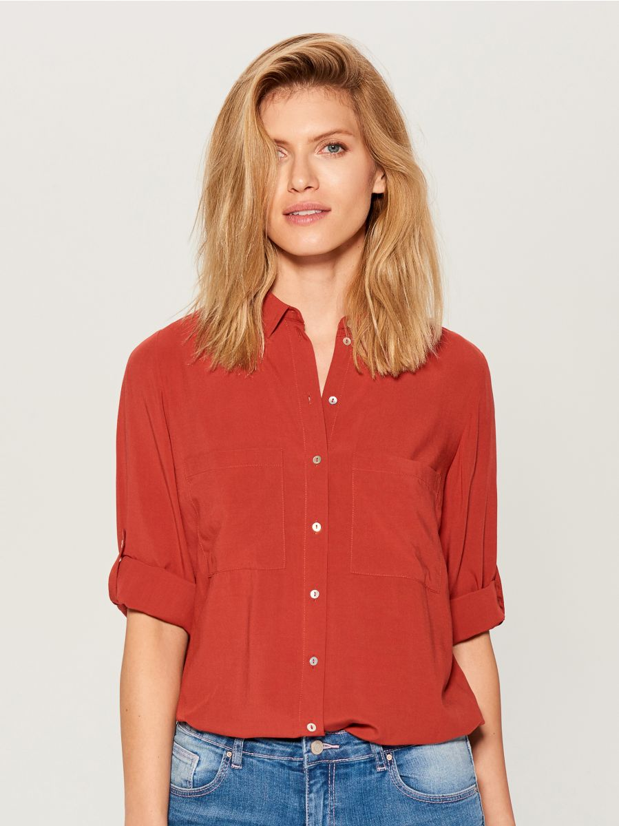 Roll-up sleeve shirt - red - VS979-29X - Mohito - 3