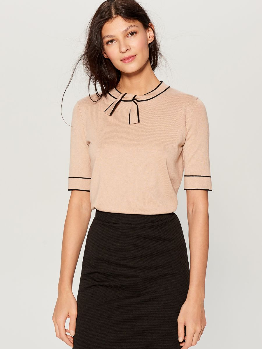 Jersey blouse with tie detail - beige - VU712-08X - Mohito - 1