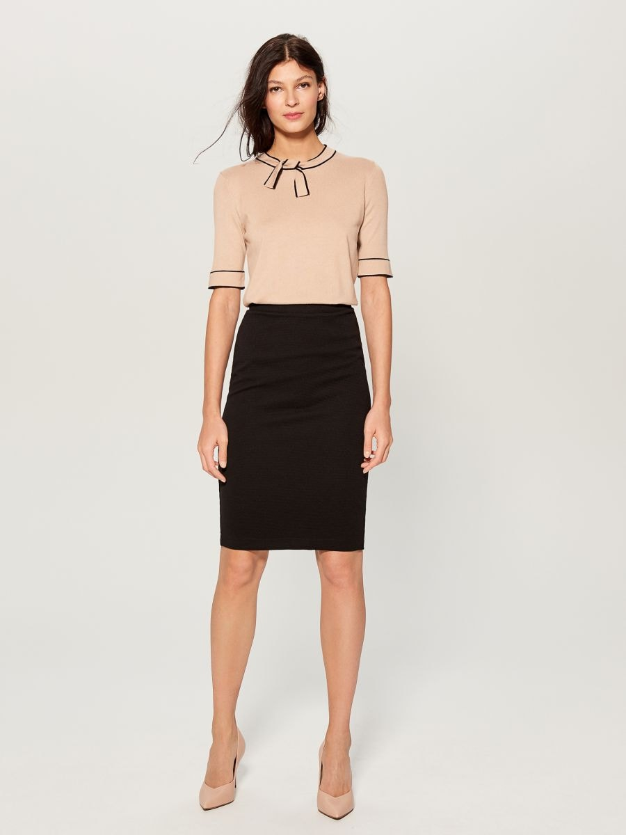 Jersey blouse with tie detail - beige - VU712-08X - Mohito - 2
