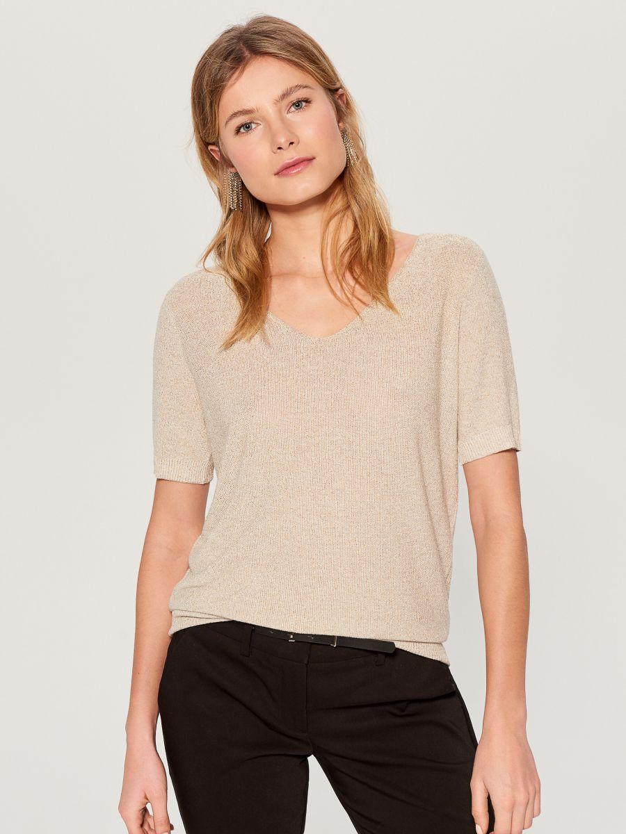 Glitter effect short sleeve jumper - beige - VU722-80L - Mohito - 2