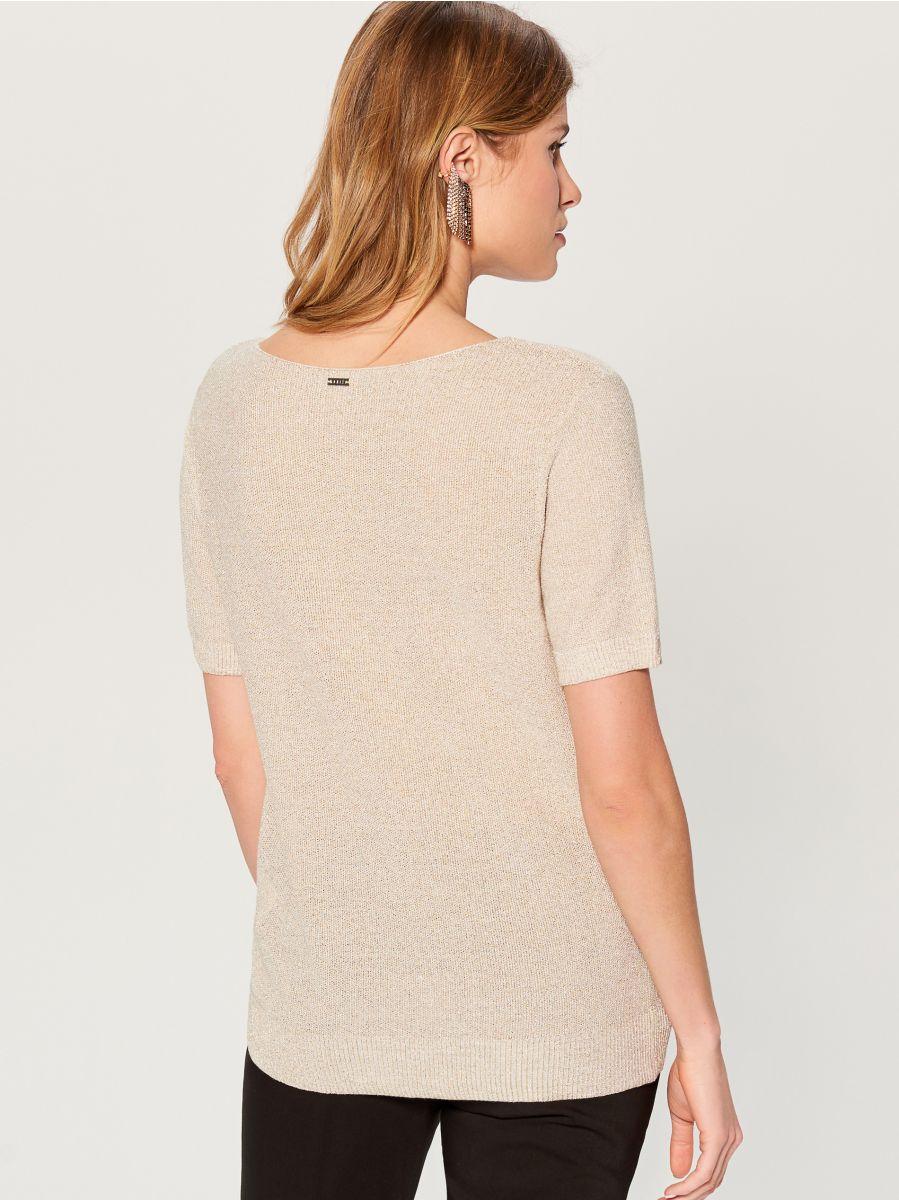 Glitter effect short sleeve jumper - beige - VU722-80L - Mohito - 4