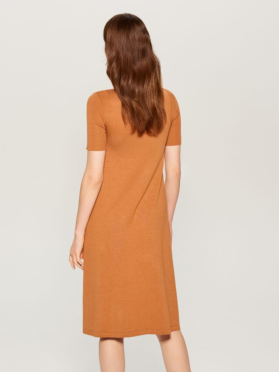 Dress with short sleeves - brown - VU726-82X - Mohito - 5