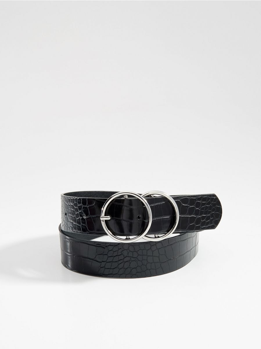 Faux leather belt with embossed snake print - black - VU947-99X - Mohito - 1