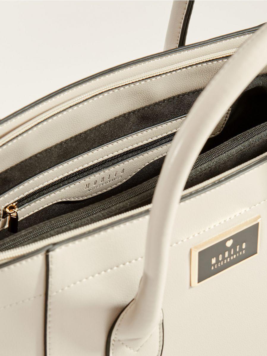 Handbag with decorative zippers - light grey - VV525-09X - Mohito - 2