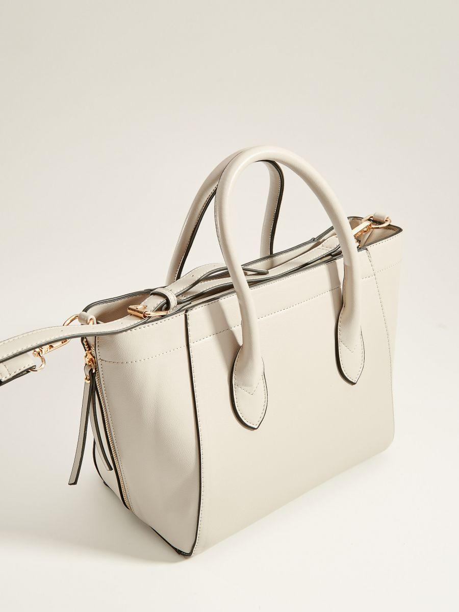 Handbag with decorative zippers - light grey - VV525-09X - Mohito - 4