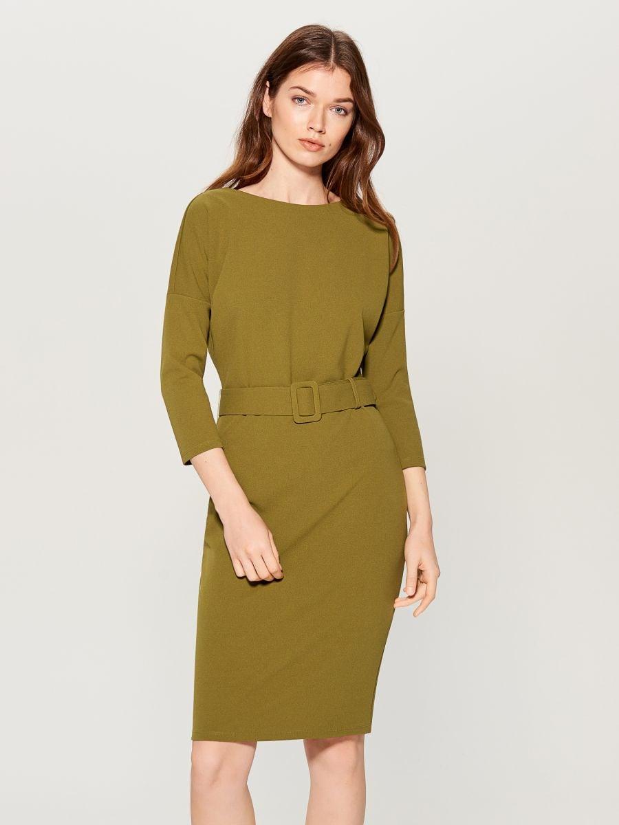 Dress with belt - khaki - VV654-87X - Mohito - 3