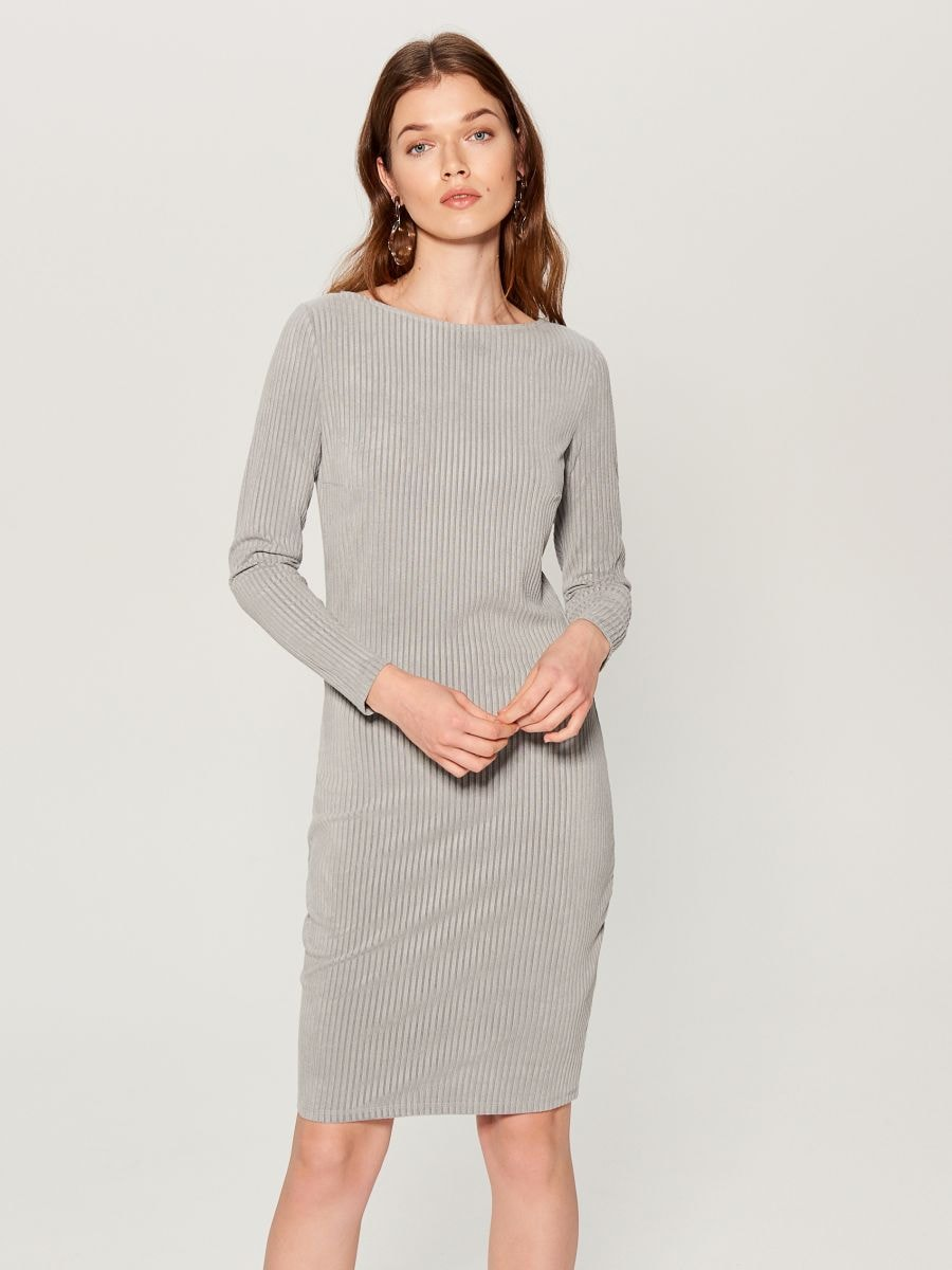 Fitted rib knit dress - grey - VV974-90X - Mohito - 2