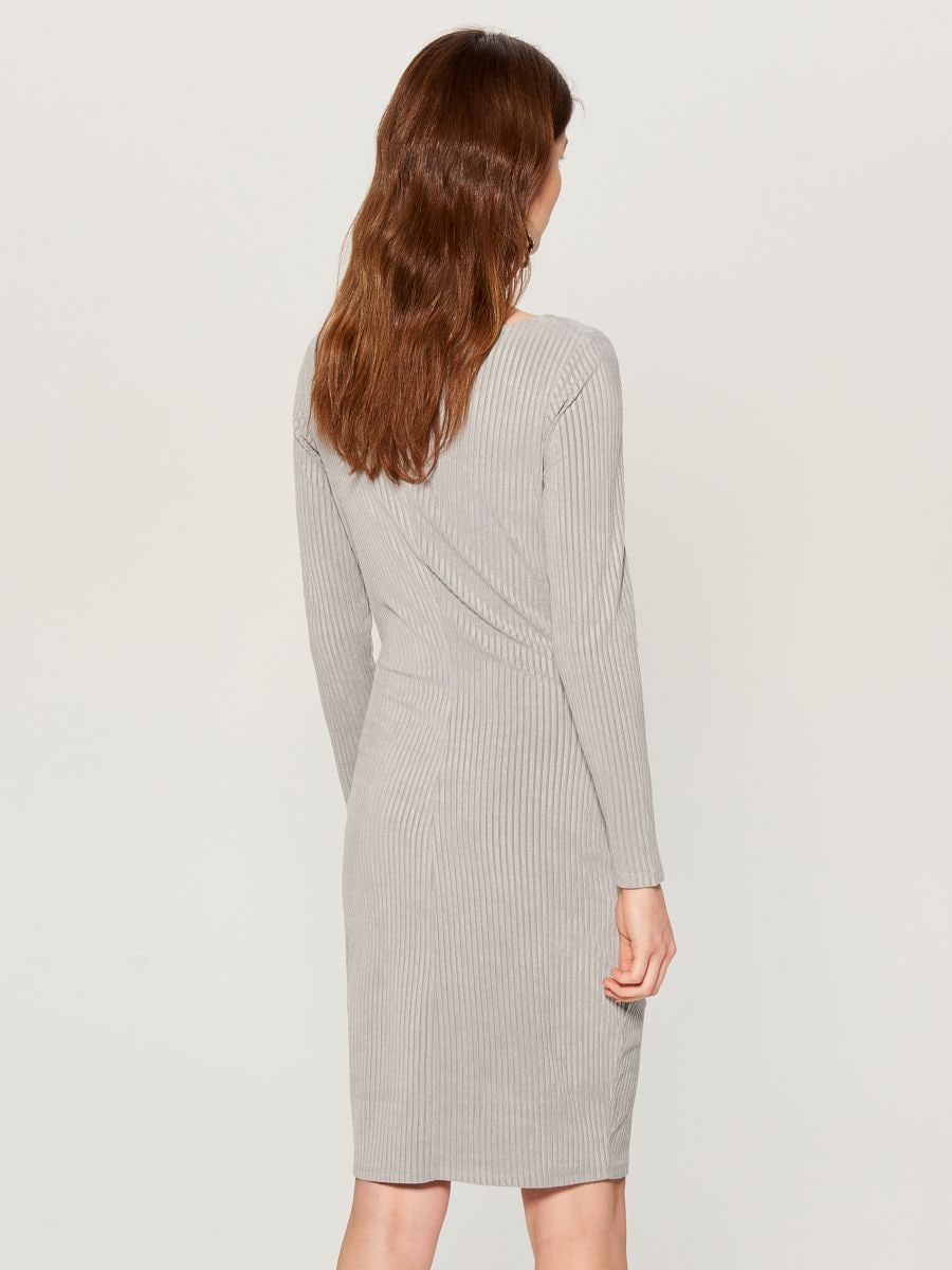 Fitted rib knit dress - grey - VV974-90X - Mohito - 3