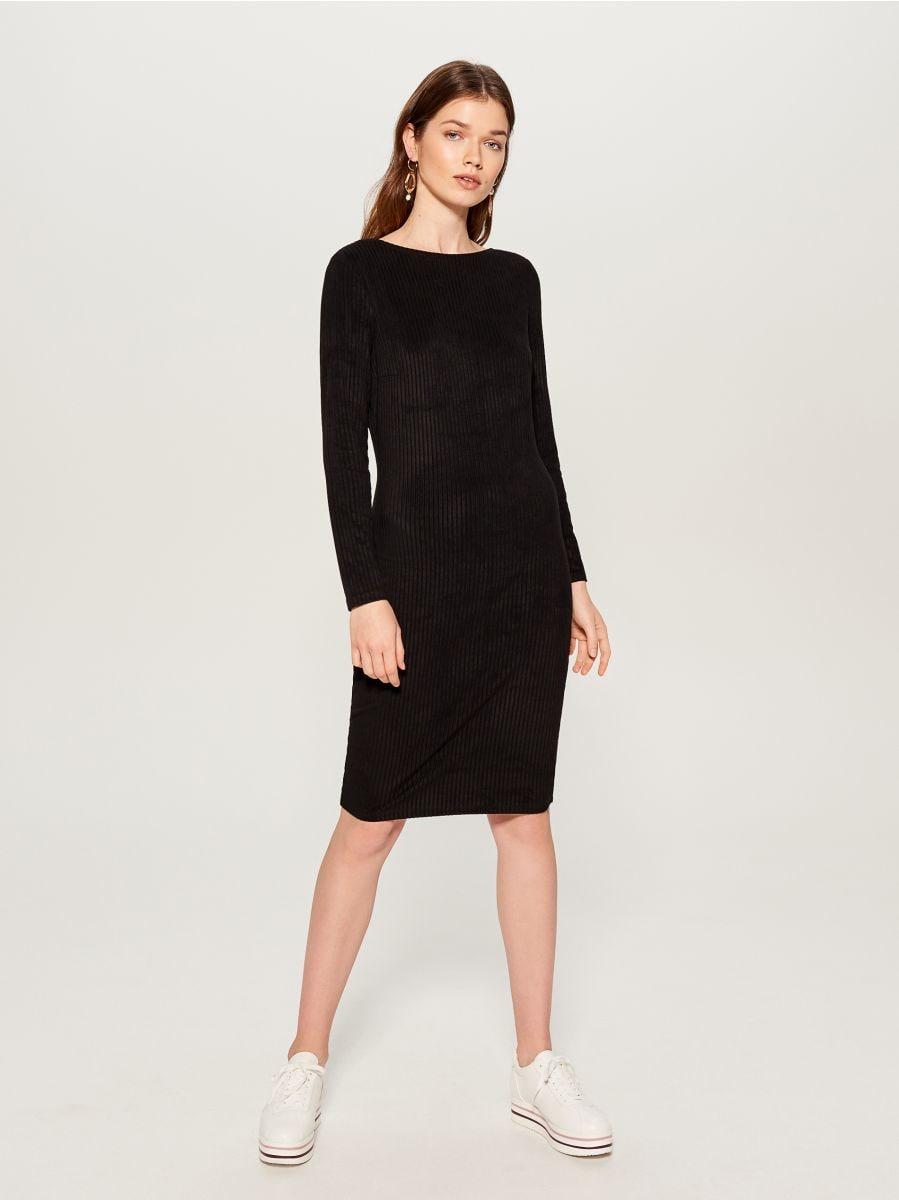 Fitted rib knit dress - black - VV974-99X - Mohito - 3