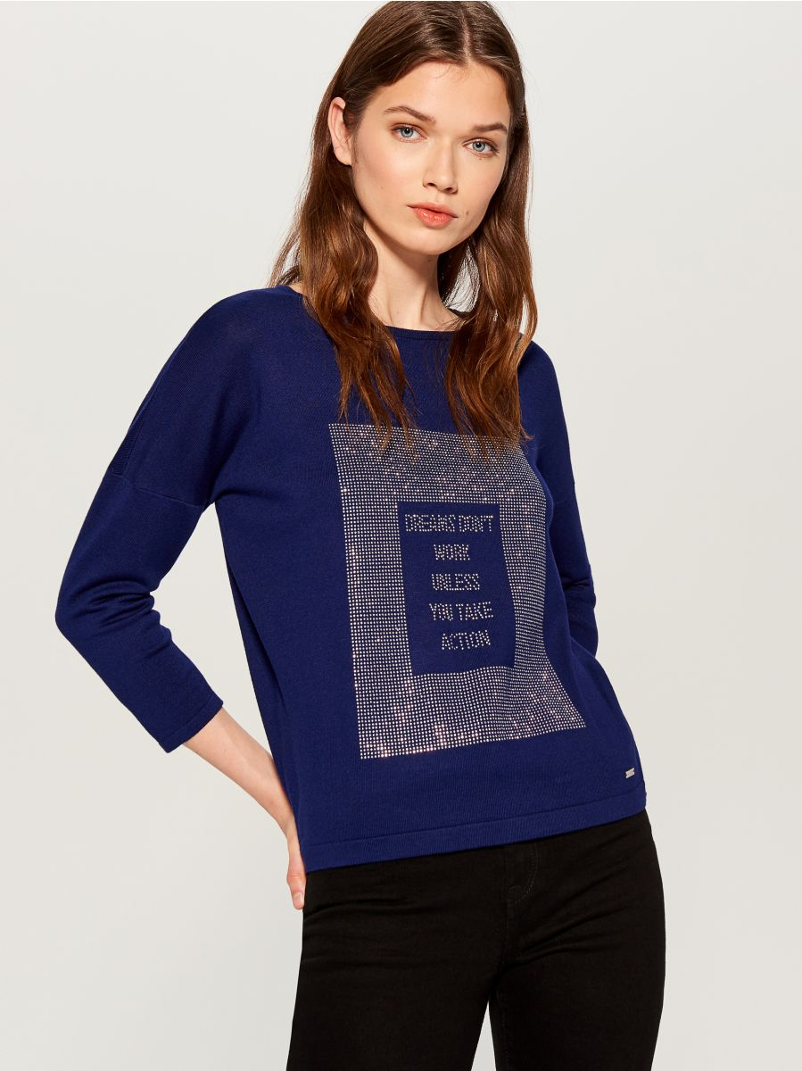 Sweater with appliqué - blue - VY344-95X - Mohito - 1