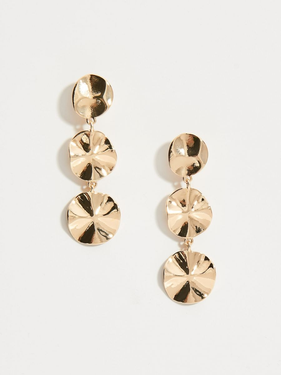 Drop earrings with round pendants - golden - VY365-GLD - Mohito - 1
