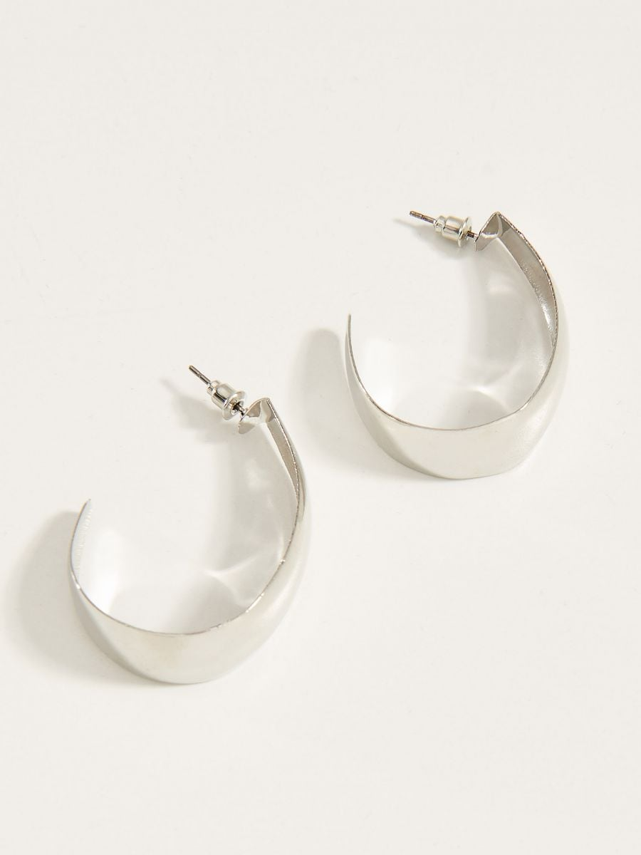 Half circle earrings  - silver - VY366-SLV - Mohito - 2