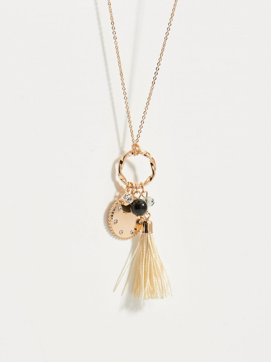 Long necklace with charms - golden - VY755-GLD - Mohito - 3