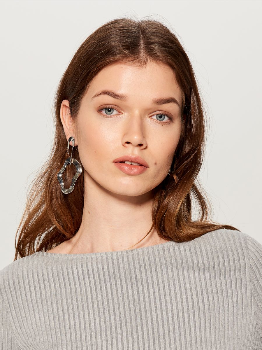 Irregular drop earrings  - silver - VY761-SLV - Mohito - 1