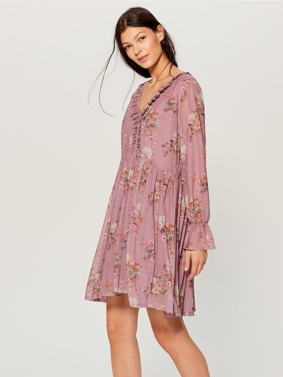 Oversized dress with ruffle trim  - pink - VZ582-39P - Mohito - 1