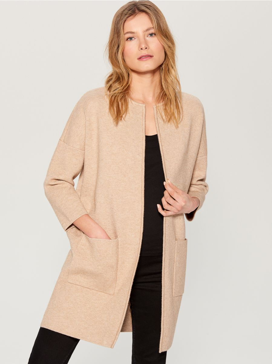 Cardigan with pockets - beige - VZ806-08X - Mohito - 2