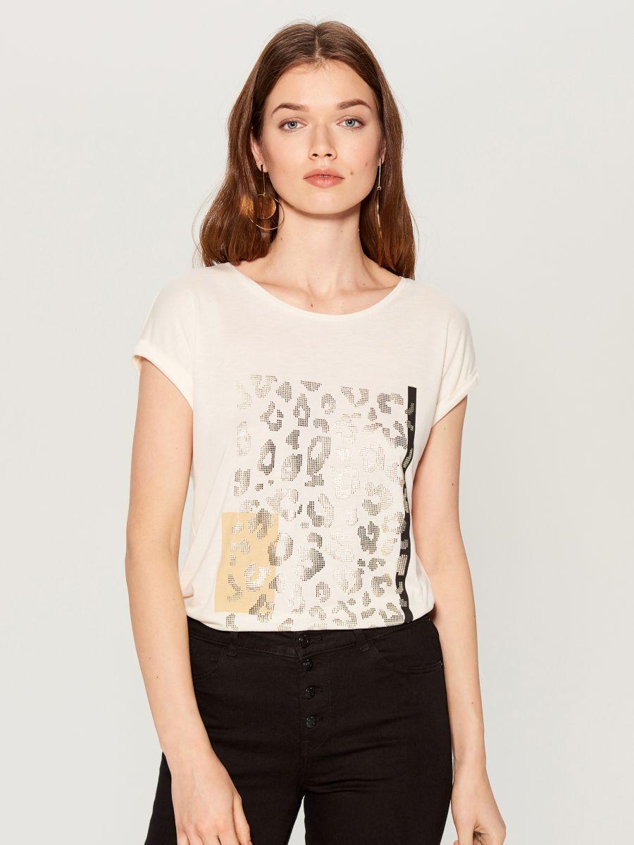 Animal print T-shirt - white - VZ840-00X - Mohito - 2