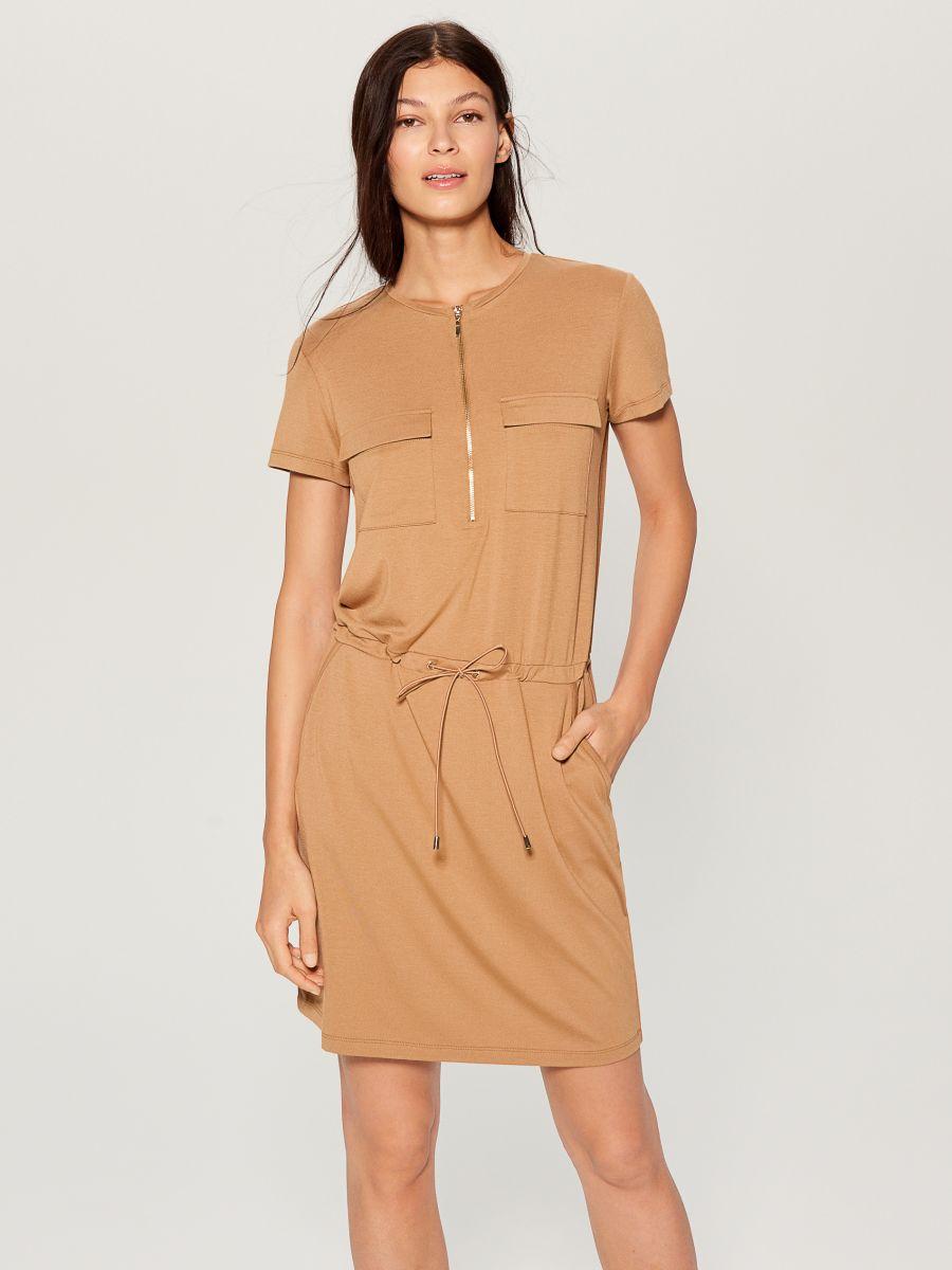 Zipped neckline dress - ivory - VZ846-02X - Mohito - 1