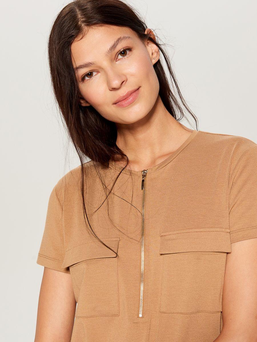 Zipped neckline dress - ivory - VZ846-02X - Mohito - 3
