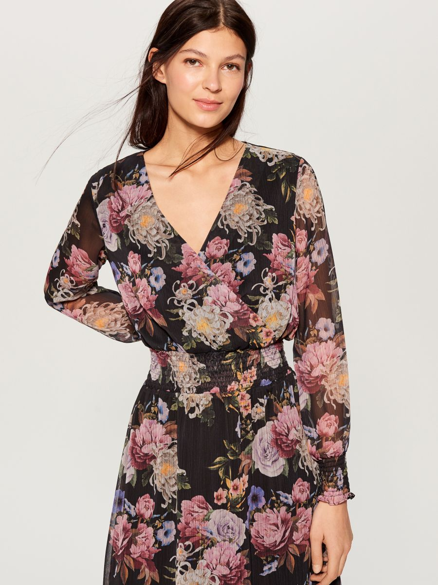 Chiffon floral dress - black - VZ973-99P - Mohito - 1