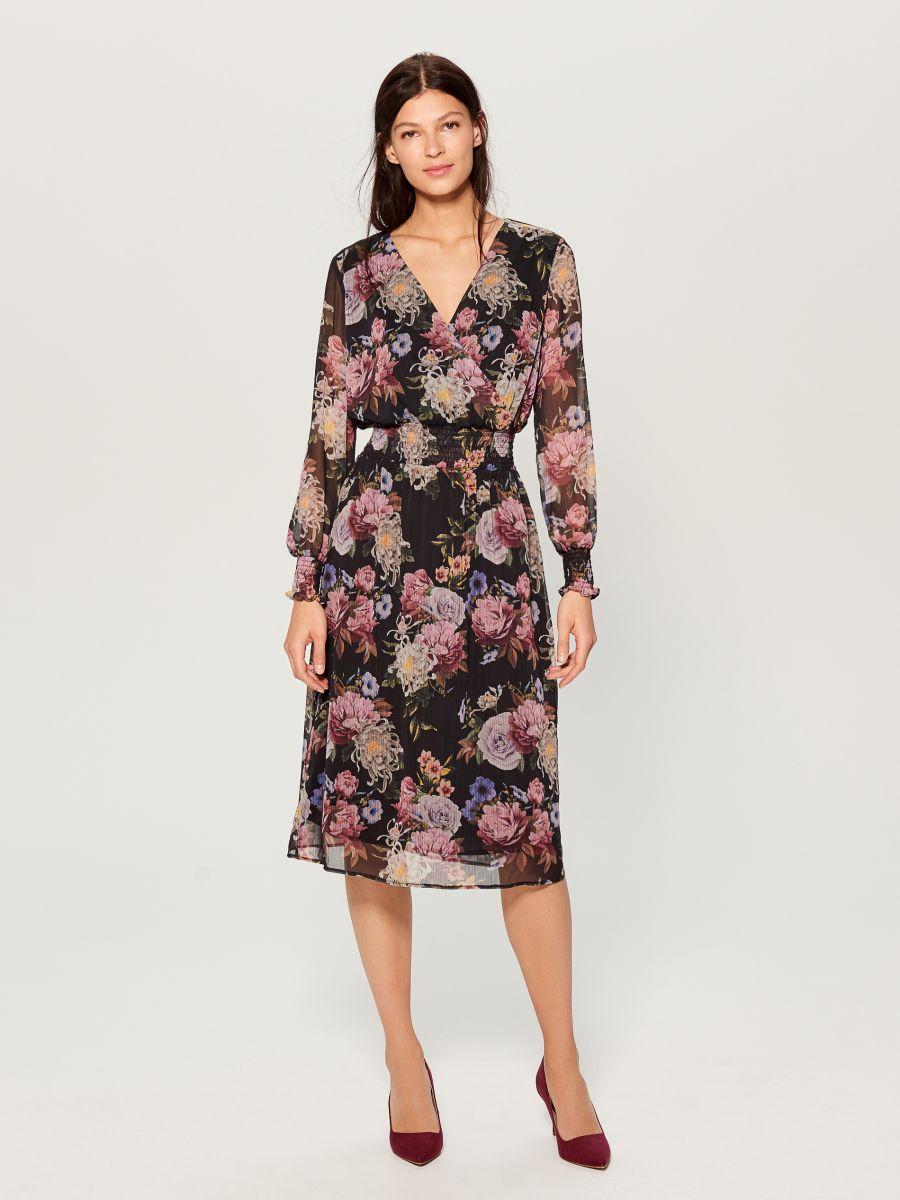 Chiffon floral dress - black - VZ973-99P - Mohito - 2