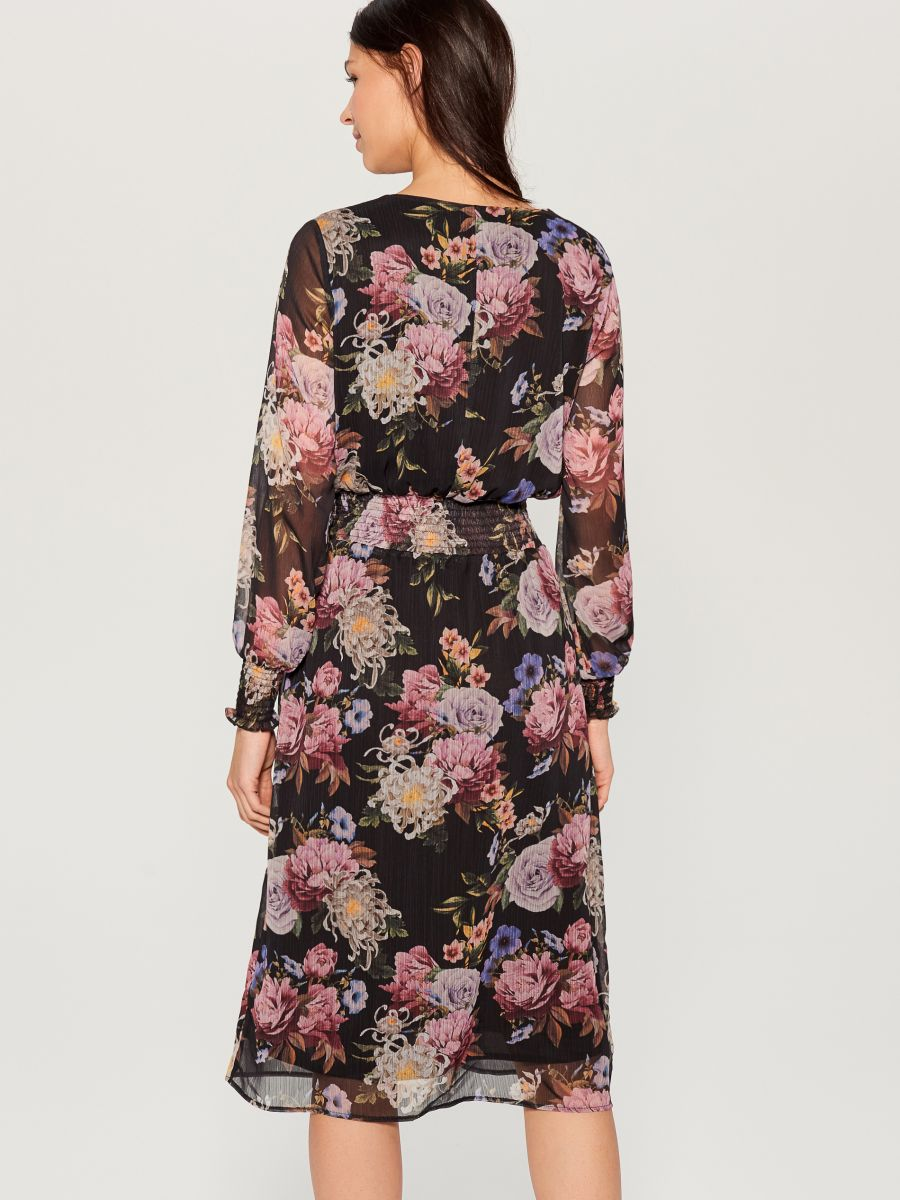 Chiffon floral dress - black - VZ973-99P - Mohito - 4