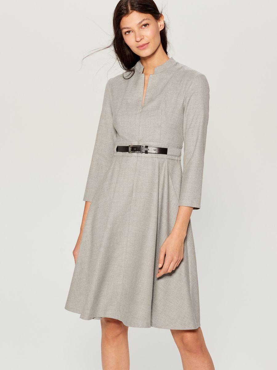 Dress with belt - light grey - VZ974-09X - Mohito - 2