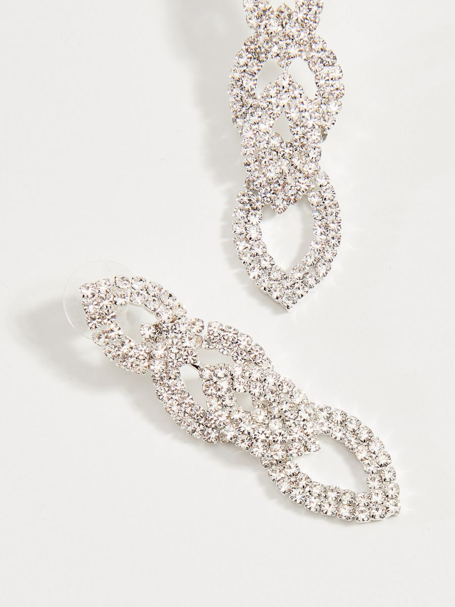 Long earrings with crystals - silver - WA580-SLV - Mohito - 2
