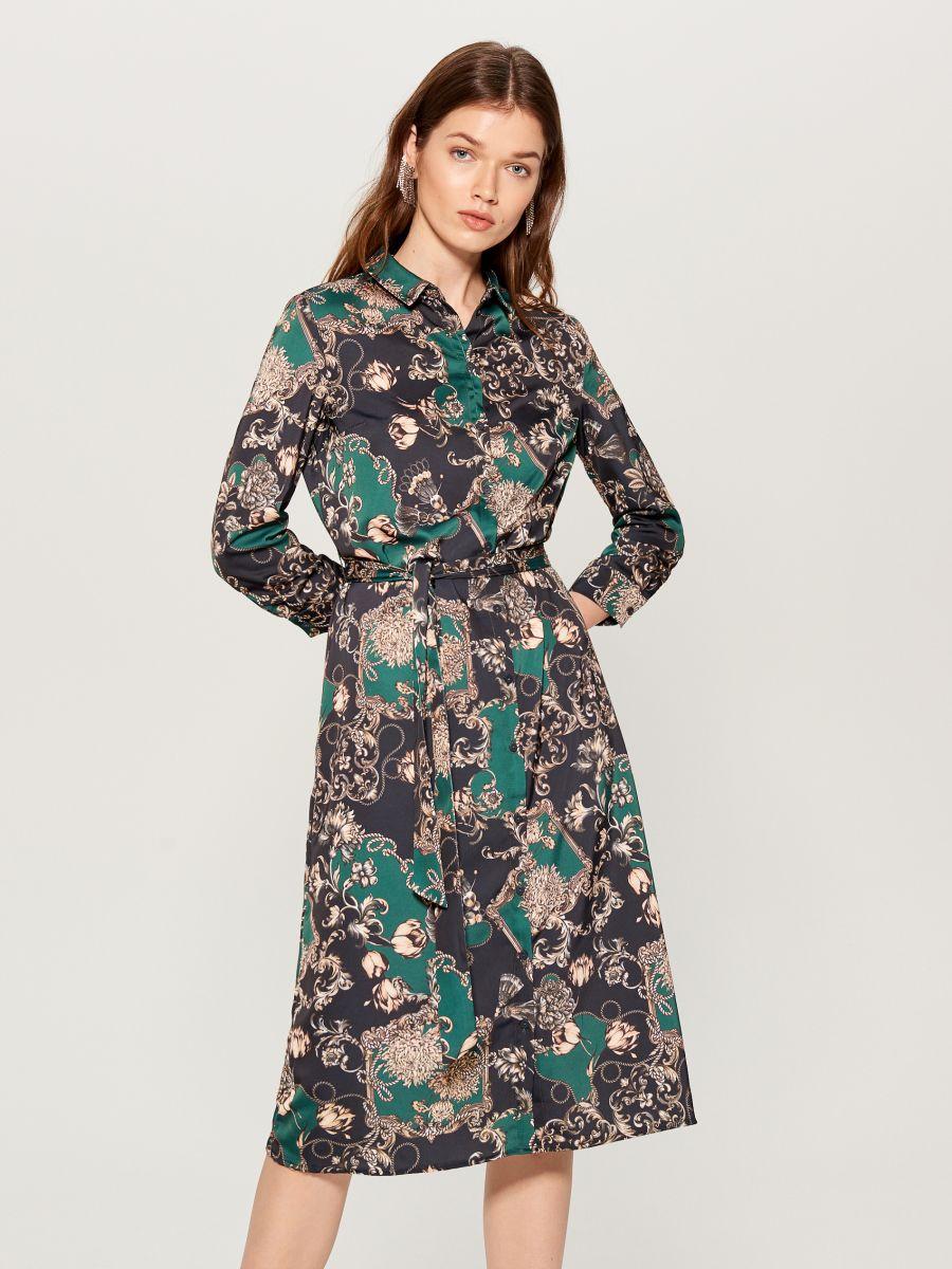 Printed shirt dress - green - WB268-79P - Mohito - 1